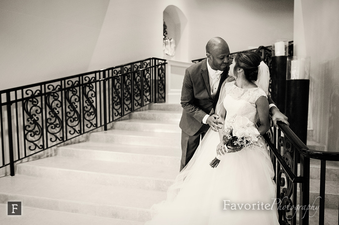 Bride and Groom on Stairs Wedding Photo