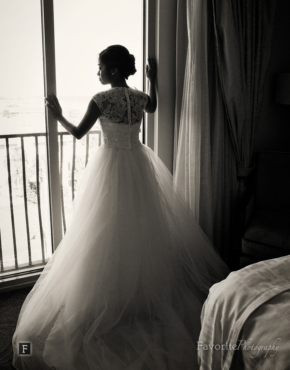 Natural Wedding Photo Bride Looking Out Window
