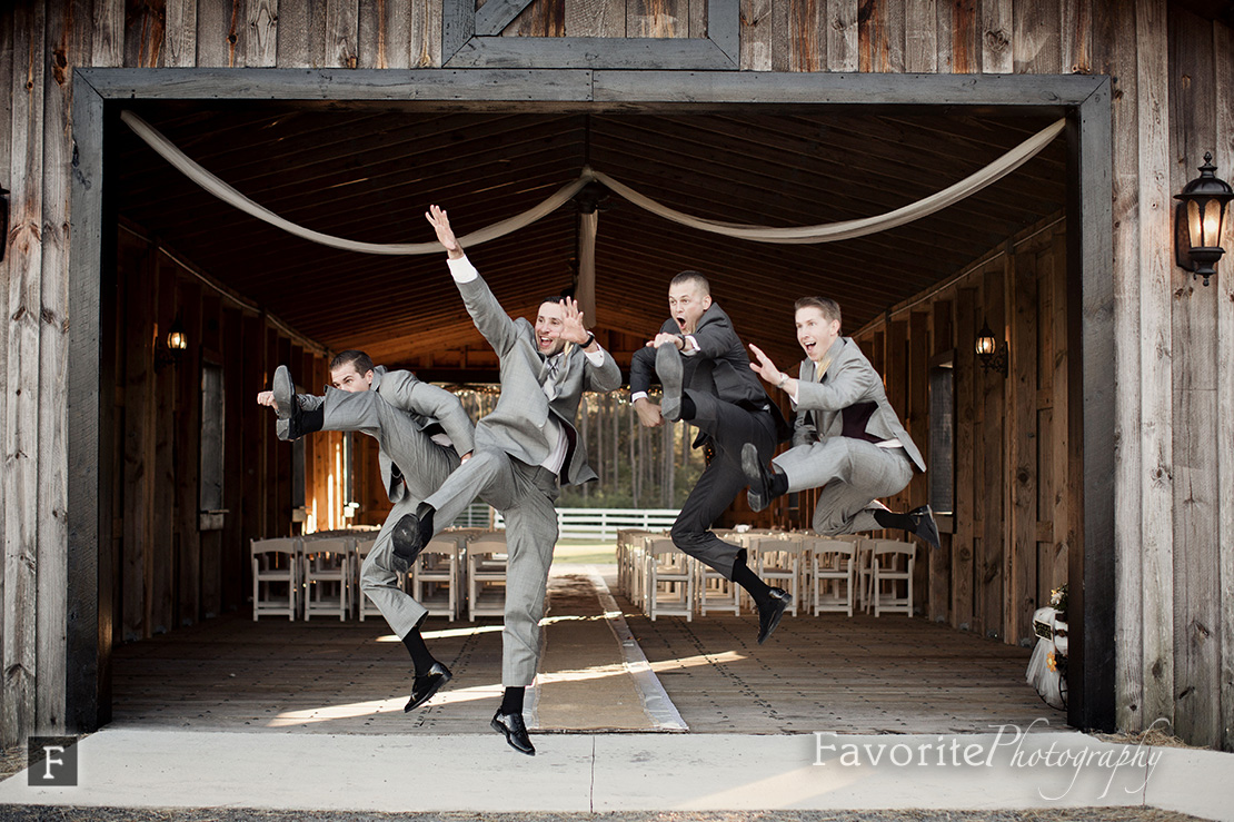 Keeler Property Bridge Groomsmen Jump Photo